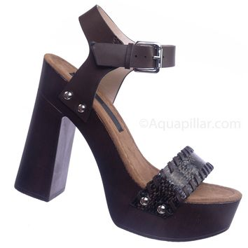 84bad059e0b Alda01 Retro Wooden Block Heel Sandal - Lightweight Boho 70s Sculpted  Platform