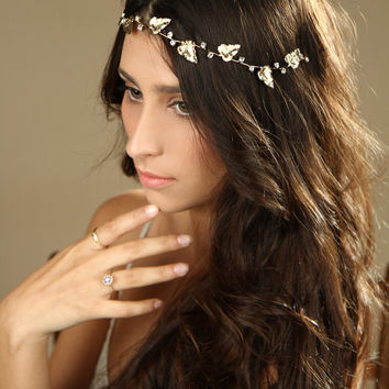 Gold Leafs Hair Wreath, gold Leaf Crown, Wedding Headband, bridal hair accessories, Greek Goddess, Gold Tiara, Leaf Halo,