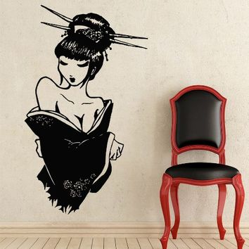 Wall Decal Japanese Geisha Girl Silhouette Vinyl Sticker Home Decor Bedroom Art Design Interior NS366