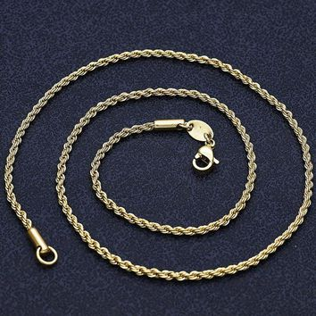 Gold Layered Men and Women Rope Basic Necklace, by Folks Jewelry