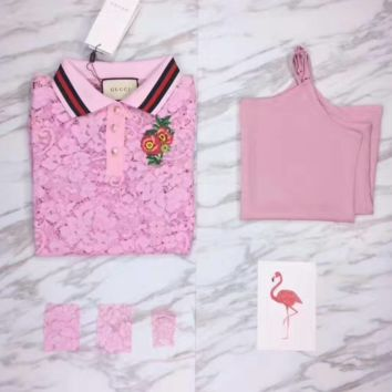 """GUCCI"" Casual Rose Embroider Short Sleeve Shirt Top Tee Blouse G-YF-MLBKS"