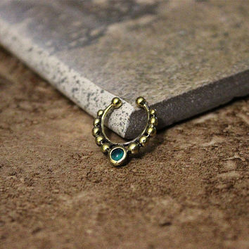 Fake Septum Ring with Green Malachite Stone, Non Pierce Antique Gold Septum, ears, Cartilage Ring, Indian Bollywood Jewelry, Tribal Jewelry
