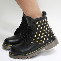 Womens Shiny Black Gold Studded Zip Combat Boots / Ladies Military Biker Shoes
