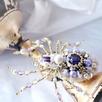Luxury birthday gift for woman unique Spider brooch pearl amethyst birthstone, nature inspired spider jewelry OOAK for her designer jewelry