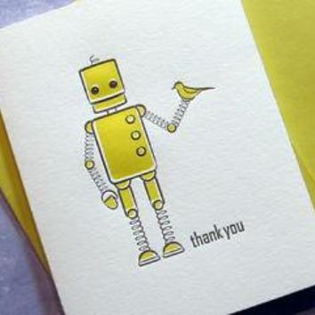 GREETING CARDS Letterpress Thank You Robot by sweetharvey