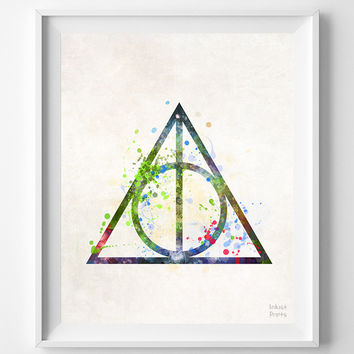 Deathly Hallows, Harry Potter, Print, Watercolor, Poster, Illustration Art, Wall, Kid Room, Nursery, Home Decor, Bed Room, Living Room, Dorm
