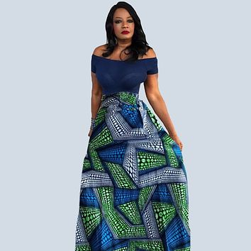 LILLY African Print Maxi Skirt