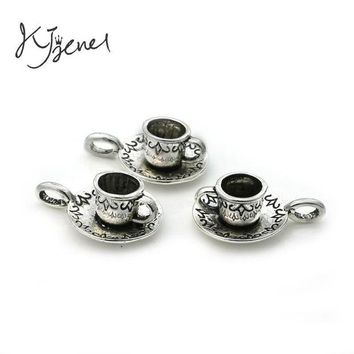 ONETOW KJjewel Tibetan Silver Plated Coffee Cup Teapot Charms Pendants Jewelry Making Bracelet Findings Diy Handmade Crafts Accessories