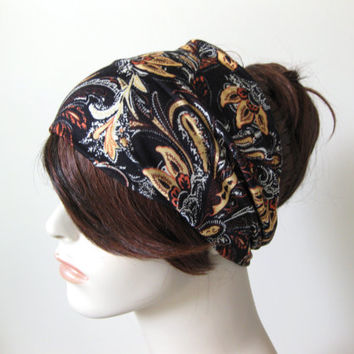 Black Floral Print Hair Turban Headband Women's Yoga Head Wrap Hair Accessories Gifts for Her