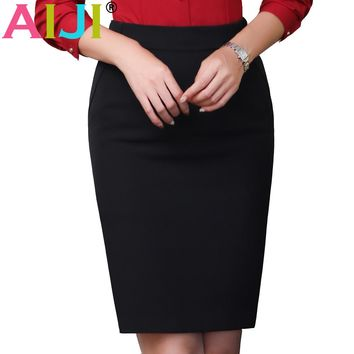 2017 new skirt female spring professional formal work hips skirt office ladies plus size black step skirt for business
