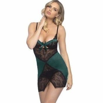 Oh la la Cheri Satin And Lace Underwire Babydoll With Wrapped Up Bow Neckline and G-String