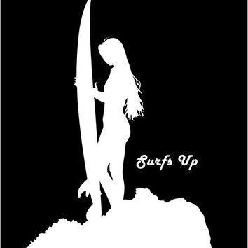 Surfs Up Surfer Girl decal Car Decal Auto Vehicle Window decal Sticker Surfer Chick Decal Surfs Up vinyl decal