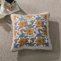 Tache 2 Piece Gilded Garden 100% Cotton Floral Gold 18x18 Cushion Throw Pillow Covers (TAJHW-631-CC)