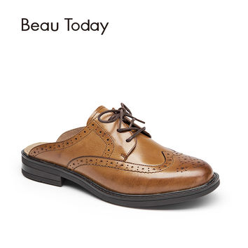 BeauToday Mules Women Genuine Leather Lace Up Backless Round Toe New Fashion Brogue Style Ladies Shoes with Box 36009