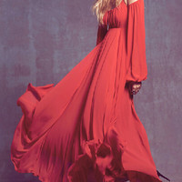 Red Strappy Long Sleeve Backless Maxi Dress