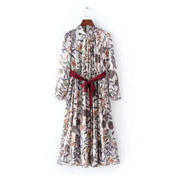 Vintage Floral Print Stand Collar Long Sleeve Pleated Maxi Dress with Belt