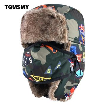 1c1b3652328 TQMSMY Camouflage bomber Hats boys Masks cap childrens winter hat keep warm ear  flaps bone girls
