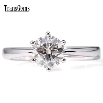 14KT White Gold Luxury Colorless 1 Carat Lab Grown Diamond Solitaire 6 Prongs Wedding Ring