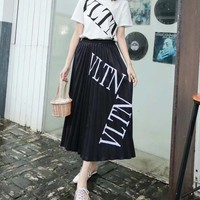 """""""Valentino""""Woman's Leisure  Fashion Letter Printing  Spell Color Short Sleeve Long skirt Two-Piece Set Casual Wear"""