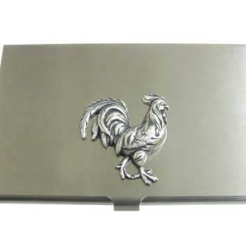 Silver Toned Large Rooster Chicken Pendant Business Card Holder