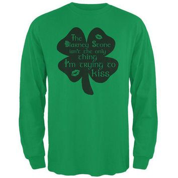 PEAPGQ9 St. Patrick's Day Blarney Stone Not Only Kiss Irish Funny Mens Long Sleeve T Shirt