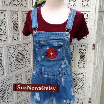 Flower Daisy Short Overalls HIppie Boho Shortalls Dungarees  Frayed Dip Dyed Festival Hipster Size X Small Farmers Bib /Suznews Etsy Store/