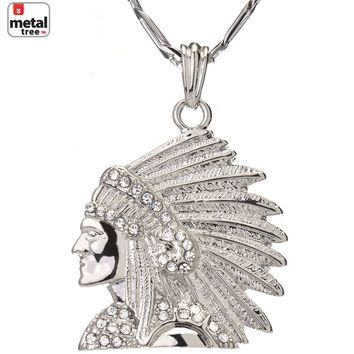 "Jewelry Kay style Men's Hip Hop Iced Out Indian Head  24"" 5 mm Figaro Chain Pendant Necklace"