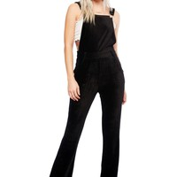 Riders on the Storm Black Velvet Cord Flared Overall