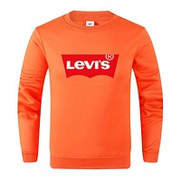 Levis Autumn And Winter New Fashion Bust Letter Print Women Men Long Sleeve Top Sweater Orange