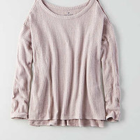 AEO Cutout Shoulder Waffle Top , Lavender
