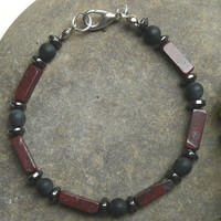 Mens Gemstone Bracelet Jasper Hematite and Rough Onyx Free Worldwide Shipping