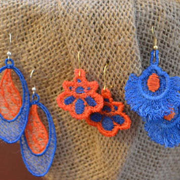 Free Standing Lace UF Gator Earring Bundle - Bridesmaid Gift - Mother's Day Gift - Best Friend Gift - Bachelorette Gift - UF Gator Fan