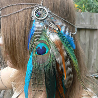 feather headdress  peacock pheasant feather head chain tribal inspired  festival