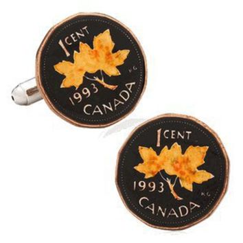 Hand Painted Canadian Penny Coin Cufflinks-CLI-PB-371-SL