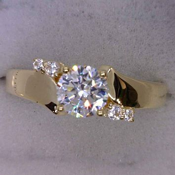 Cubic Zirconia Engagement Ring-*Clearance*The Inez 1.0 Carat Round Cut 5-stone Artisan Bypass in 10K Yellow Gold