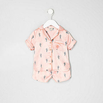 Mini girls pink cactus print shirt pajama set - baby girls pajamas / underwear - mini girls - girls