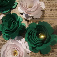One dozen ( 12 ) hand rolled 2 inch MSU Michigan State rose bowl St Patricks Day green and white sweetheart paper roses