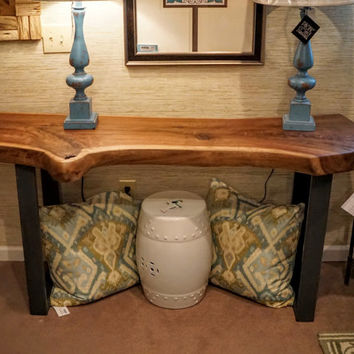 solid walnut live-edge slab console table