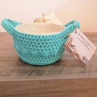 Crochet Microwave Bowl Potholder Handled Carrier Bowl Cozy Handmade Teal Green