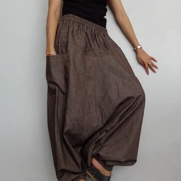 Casual Harem Drop crotch Pant,Unisex Baggy Trouser, Brown Cotton denim (pants-P6).
