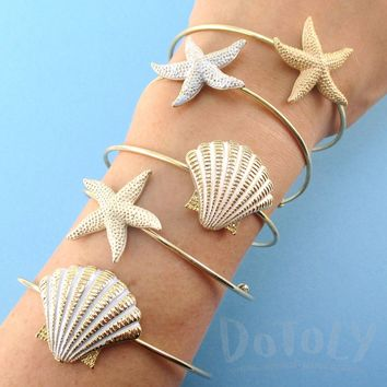 Starfish and Seashell Shaped Mermaid Inspired Bangle Bracelet Cuffs in Gold