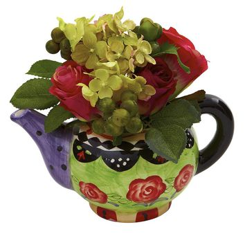Silk Flowers -Rose And Hydrangea With Decorative Vase Artificial Plant