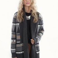 Geometric Print Oversized Open Sweater with Ribbed Collar
