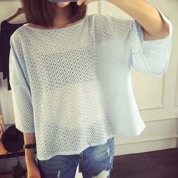 Wave Pattern Mesh Net Drop Shoulder Loose Blouse