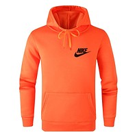 NIKE Autumn Winter Fashion Men Women Casual Print Hooded Sweater Sweatshirt Orange