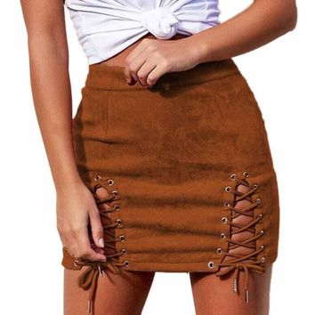 Lace Up Leather Suede Mini Skirt Sexy  High Waist Skirts Womens