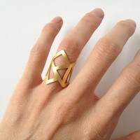 gold ring - 24K gold plated bronze ring -  statement ring - adjustable ring