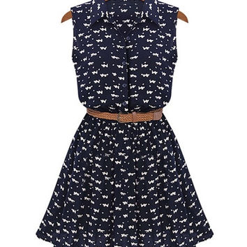 Sweet Slim Women Sleeveless Dress Print Lapel High Waist Sundress With Belt F_F = 1901800452