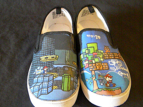 Custom Shoes - Paper Mario Youth Size 2