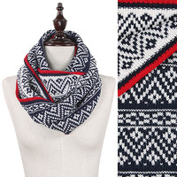 Reversible Nordic Cozy Infinity Scarf: Black, Ivory, Red